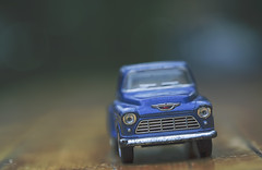 high milage (rockinmonique) Tags: blue green chevrolet car canon toy miniature bokeh chevy tamron moniquew