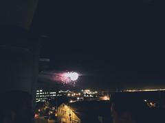 Fireworks over the Bay Bridge (flrent) Tags: sanfrancisco california bridge bay san francisco unitedstates baseball fireworks stadium celebration giants feu dartifice dogpatch