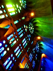 glow (gaypunk) Tags: barcelona blue windows green church spain cathedral basilica stainedglass gaudi sagradafamilia