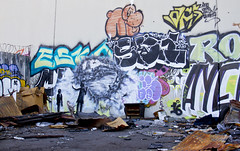 Bandit Wreckage of War2 (Brett Landrum) Tags: california street urban streetart abstract art abandoned canon photography graffiti photo losangeles los stencil angeles abstractart spray urbanart abandonedhouse spraypaint bandit vernon stencilart dtla graffitiart sprayart canon7d banditstreetart banditart