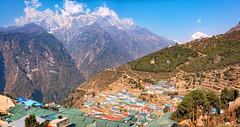 Namche Bazaar, Khumbu (Everest) region, Nepal (CamelKW) Tags: nepal bazaar region khumbu everest namche 2016 namchebazaar everestpanoram
