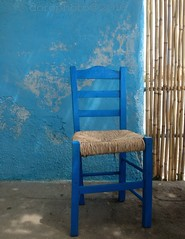 ... die blaue Wand  ...the blue wall ( doro 51 ) Tags: blue wall chair wand bamboo gr blau stuhl samos taverne bambus 2016 ireon dorophoto
