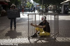 Protest for release of Palestinian clown Mohammad Abu Sakha, Tel Aviv, 5.7.2016 (activestills) Tags: israel palestine protest demonstration clowns occupation politicalprisoners orenziv topimages administrativedetention