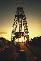 Newport Transporter Bridge (technodean2000) Tags: city uk bridge light sunset sun grass wales print lens star high nikon outdoor south best canvas newport flare better transporter lightroom d610