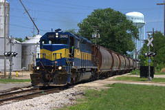 Tip-up extra (BSTPWRAIL) Tags: tpw toledo peoria western railroad railway sd402 local grain loads train railamerica rail america road way gw genesee wyoming washington illinois locomotive 3440