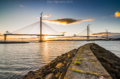 Construction in Progress (blairmchattiephotography) Tags: bridge sunset sky sun clouds scotland pier construction nikon edinburgh flickr crossing fife forth queensferry 2016 d7000