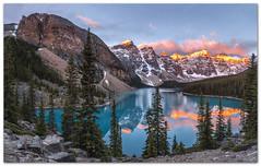 "Moraine Lake On Fire... (Joalhi ""Around the World"") Tags: lake canada mountains reflection sunrise fire glacier pines alberta banff lakelouise alpenglow morainelake valleyofthetenpeaks"