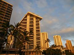 sunset on Waikiki Beach (kenjet) Tags: sunset architecture buildings hawaii hotel evening waikiki oahu hotels waikikibeach westin moana outrigger hyattregency moanasurfrider outriggerwaikiki westinmoana