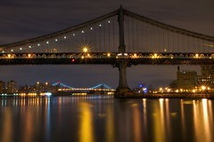 Manhattan at Midnight (SunnyDazzled) Tags: city longexposure bridge sky newyork water night clouds reflections river lights colorful cityscape shine manhattan dumbo east williamsburg takenin3layers