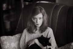 my sister and her cat :) (locoore) Tags: summer portrait bw sun sunlight white black colors girl beautiful digital cat canon photography eos photo spring amazing nice soft 300d kitty helios 444