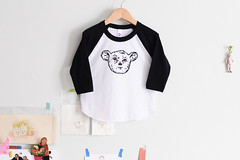 kids sleepy creature raglan tee (imaginary animal) Tags: blackandwhite cute animal kids funny screenprint clothes americanapparel raglan