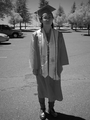 Naomi in Regalia (sjrankin) Tags: ir edited graduation naomi infrared academia sacramento commencement grayscale honors regalia csus academicregalia sacramentocalifornia 24may2013 honorsregalia