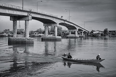 Morning Life Bang Taboon (Sukarnjanaprai) Tags: life morning bridge bw white black thailand boat asia petchaburi fishery bangtaboon บางตะบูน