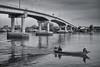 Morning Life Bang Taboon (Sukarnjanaprai) Tags: life morning bridge bw white black thailand boat asia petchaburi fishery bangtaboon บางตะบูน