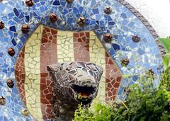 Trencadis (mosaic) entrance to Guell Park (cristinabaghiu) Tags: barcelona park spain nikon europa europe mosaic espana gaudi catalunya antonio guell p500 espanya trencadis