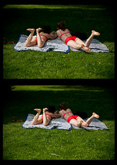Diptych (Poupetta) Tags: park girls summer helsinki sunbathing