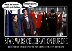 DOCTOR WHO gets lost on the way to STAR WARS CELEBRATION EUROPE 2013 (DarkJediKnight) Tags: clara poster starwars europe who dr humor fake celebration doctor darth parody spoof vader tardis deathstar emperor oswald returnofthejedi sidious mattsmith oswin 2013 palapatine jennalouisecoleman