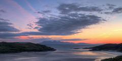 Morar Bay Sundown (tommyscapes) Tags: blue sunset sea orange seascape mountains west color colour clouds photoshop landscape island bay scotland highlands scenery sundown tommy clark bluehour hdr morar isleofrum photomatix 3exp topazadjust tommyscapes
