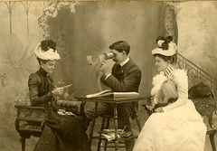 Elegant friends with a stereoviewer - 1890s (Aussie~mobs) Tags: stereoviewer stereoscope studioportrait vintage 1890s stereoscopicphotograph aussiemobs