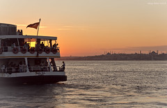stanbul'dan geerken - When passing from Istanbul (oskaybatur) Tags: travel sunset sea summer silhouette turkey landscape tour pentax trkiye saturday august istanbul mosque trkei steamship cami bosphorus boazii endofsumm
