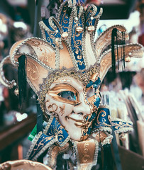 We don't sleep when the sun goes down.. (areyarey) Tags: carnival blue venice party italy detail eye beauty smile face fashion festival mystery bells ball fun gold golden costume italian colorful italia mask bell decorative traditional decorat
