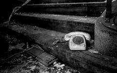 Ring Ring Ring (Imperatore Geoffrey) Tags: old bw white black stairs nikon mess stair noir phone dirty nb special dirt messy et blanc escalier vieux tlphone dlabr d3100