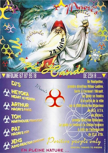 "Patrice Heyoka - Flyer 24/06/1995 - Maori's ""Magic Hands"" (Montpellier) <a style=""margin-left:10px; font-size:0.8em;"" href=""http://www.flickr.com/photos/110110699@N03/11329019446/"" target=""_blank"">@flickr</a>"
