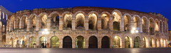 Verona (music_man800) Tags: blue winter italy panorama holiday history night canon evening europe arch angle theatre wide amphitheatre january historic arena verona hour coliseum 700d