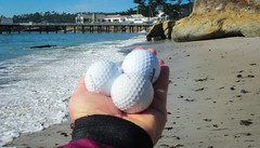 pebbles (Lisa Ouellette) Tags: california monterey sand unitedstates pebbles pebblebeach pacificgrove waterhazard bask par4 golfballs stillwatercove hole4 delmonteforest lookmanobalata 500round