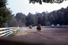 Mom on horseback (epicharmus) Tags: ranch trip summer vacation horses ny newyork mother upstate adirondacks resort lakegeorge upstatenewyork 1973 horsebackriding warrencounty daddino oropallo marieoropallo mariedaddino mariadaddino mariaoropallo roaringbrookranch