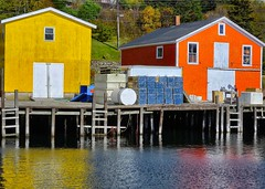 Primary colours (halifaxlight) Tags: blue windows red canada yellow reflections fishing doors novascotia gear wharf colourful sheds northwestcove ilovemypics