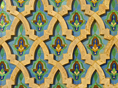 Moroccan Tile (DRoofing163) Tags: africa blue sunset green texture geometric floral architecture tile ceramic pattern arch mosaic background islam traditional religion north mosque arabic morocco arab ii casablanca hassan ornate islamic hassanii