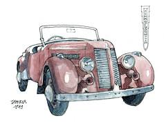 Impéria 1949 (gerard michel) Tags: auto brussels sketch belgium aquarelle watercolour sketchcrawl croquis autoworld impéria