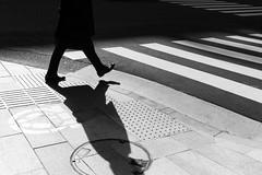 Shadow Play I (Richard Buttrey) Tags: shadow bw monochrome japan walking tokyo crossing play walk jinbocho