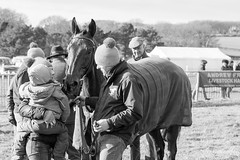 In the paddock (BournemouthMike) Tags: horses people blackandwhite canon countryside candid racing dorset horseracing stable