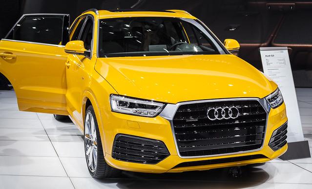 auto usa cars car yellow automobile detroit audi naias cobo ledlights detroitautoshow northamericaninternationalautoshow 2015 audiq3 2016q3 subcompactcrossover