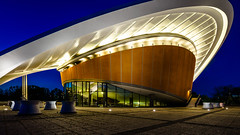pregnant as an oyster (K.H.Reichert) Tags: berlin art night germany deutschland nightshot kunst architektur bluehour regierungsviertel architectur blauestunde schwangereauster nachtfoto hausderkulturen