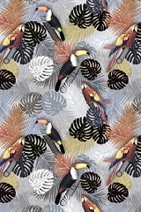 tropical-birds-prints_Society6 (vannina_sf) Tags: wood plant tree leaves birds forest leaf toucan branch pattern parrot palm jungle tropical tropics ara amazonia artprint society6