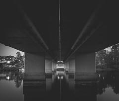Reflection (densshod) Tags: longexposure bridge blackandwhite reflection water lines architecture contrast blackwhite spring sweden outdoor olympus halmstad