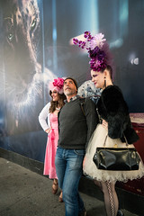 Easter Glamour - I (UrbanphotoZ) Tags: nyc newyorkcity pink flowers ny newyork man hat fashion glamour women veil dress orchids foreboding manhattan cartier skirt pearls midtown leopard taffeta pocketbook fifthave easterparade headpiece stphotographia