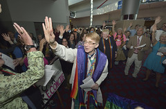 Lesbian ordained in irregular service at United Methodist General Conference (United Methodist News Service) Tags: gay woman usa church oregon lesbian portland hands unitedstates religion highfive homosexual christianity sexuality ordination unitedmethodistchurch gayrights homosexuality generalconference oregonconventioncenter denomination lgbtqi