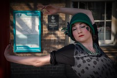 Pasodoble ! (f22photographie) Tags: makeup chester streetentertainer streettheatre vintageclothing pasodoble vintageoutfit vintagehat spanishdance vintagenecklace stunninggirl