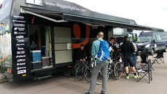Fan buzz around the Wiggle High 5 tour bus waiting for autographs (Adnams) Tags: cycling tour womens highfive southwold wiggle high5