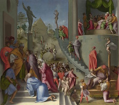 Jacopo Pontormo Joseph with Jacob in Egypt Italy (c. 1518) Oil on Wood; 96.5 x 109.5 cm. This is one of the panels that decorated the bedchamber built for Pier Francesco Borgherini on the occasion of his marriage in 1515. This was the latest and most adva (medievalpoc) Tags: italy art history joseph pier with jacob egypt jacopo francesco 1500s pontormo medievalpoc borgherini