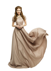 Woman Long Dress, Fashion Model in Historical Gown Flying Waving over White (noor.khan.alam) Tags: portrait people woman brown white history girl beautiful beauty smile fashion lady female hair flying clothing model glamour long dress dynamic wind background over fulllength victorian makeup posing style curls skirt retro latvia clothes fabric romantic historical flowing brunette gown cloth elegant waving hairstyle period carefree isolated elegance flutter revival womandress