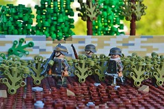 Moving through the Vinyards (~J2J~) Tags: france wall vineyard lego outdoor german ww2 minifigure brickarms minifigsrus