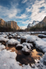 Snow And Fire (www.35mmNegative.com(On a Break, Catchin) Tags: california park snow clouds reflections river landscape photography three nikon rocks glow village nps brothers gates parks merced el national valley yosemite glowing services capitan hazarika d800e www35mmnegativecom reetom
