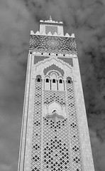 Hussain II mosque 6 (PhillMono) Tags: travel light shadow white black detail art monochrome sepia architecture grey nikon worship minaret faith mosque tourist morocco ii ornate dslr hussain d7100