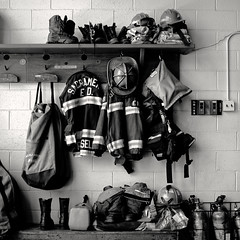 2016-06-25 turnouts, all ready (Robert Couse-Baker) Tags: film rolleiretro80s 120 squareformat sacramentocityfirestation18 sacramentocityfire station18 turnouts firefighters