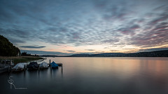 ~ sunrise symphony ~ (SteffPicture) Tags: longexposure lake sunrise boot switzerland see silence morgenrot lakezurich morgenstimmung myswitzerland puresilence seezrich steffpicture